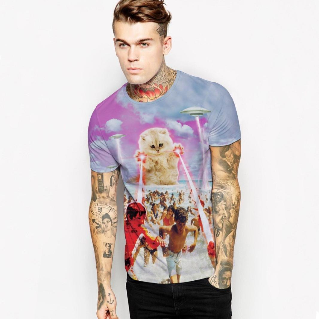 Shirt RIUDA 3D Cats printing Men Fashion arder stamp T-shirts