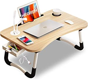 Hegreh Lap Desk for Bed Fits up to 17″ Laptops with Storage Drawer,Lamp,Tablet/Cup Holder, Laptop Bed Tray Table, 23.6