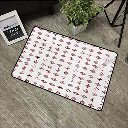 Outdoor Door mat W19 x L31 INCH Abstract,Diamond Shaped Geometric Figure with Inner Artful Forms Symbolic Architecture Icon,Red White with Non-Slip Backing Door Mat Carpet