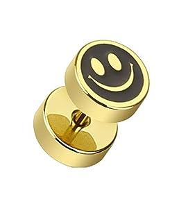 Paula & FRITZ® Faux plug en acier inoxydable acier chirurgical 316L Plaqué Or lächelnde...