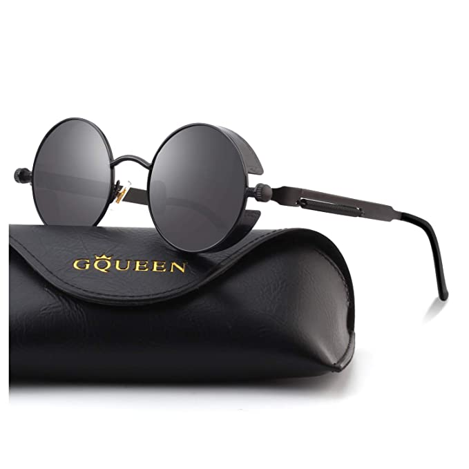 58d72de466 Image Unavailable. Image not available for. Color  GQUEEN Retro Round  Circle Steampunk Sunglasses ...