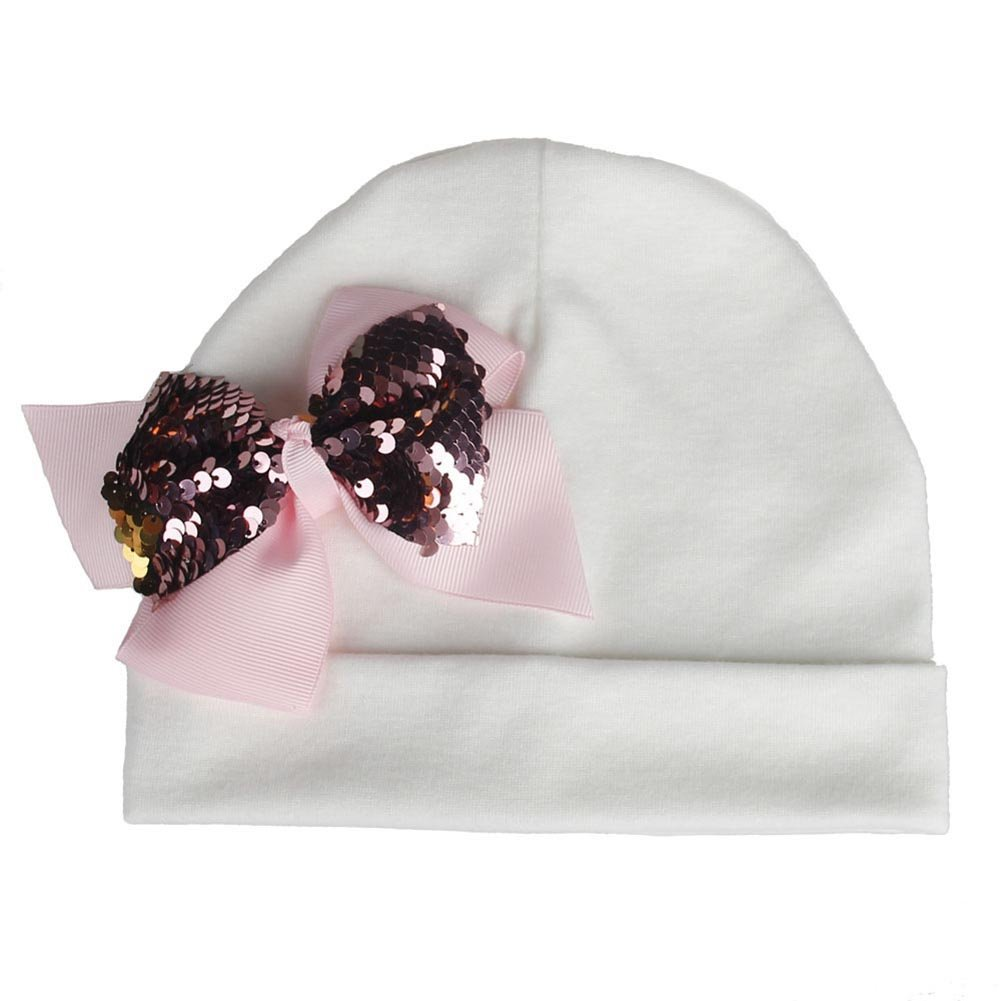 Infgreate Stylish Warm Hat Toddler Girl Elastic Beanie Cap Baby Sweet Sequins Bowknot Knitted Cotton Hat