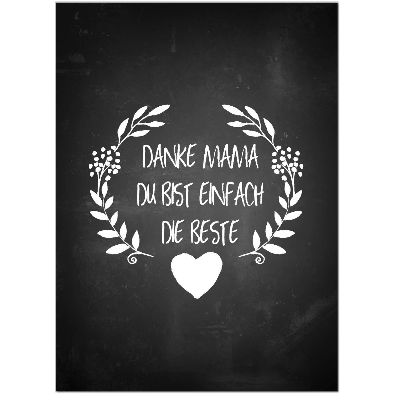 Postkarte Die beste Mama Danke//Moderne Karte mit Umschlag//zum Muttertag//f/ür Mama