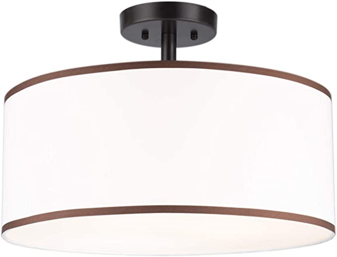 Co Z Drum Light 18 Bronze Finished 3 Light Drum Chandelier Semi Flush Mount Contemporary Ceiling Lighting Fixture With Diffused Shade For Kitchen Hallway Dining Room Table Bedroom Bathroom Home Improvement
