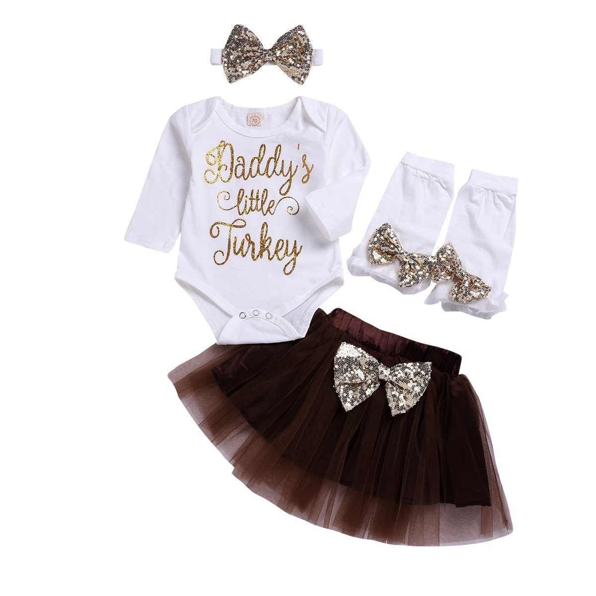 b8b2437e20ce Amazon.com: Infant Baby Girls Thanksgiving Outfit Newborn Romper Tops +  Tutu Skirt + Leg Warmers + Headband 4PCS Set (White, 6-12 Months): Clothing