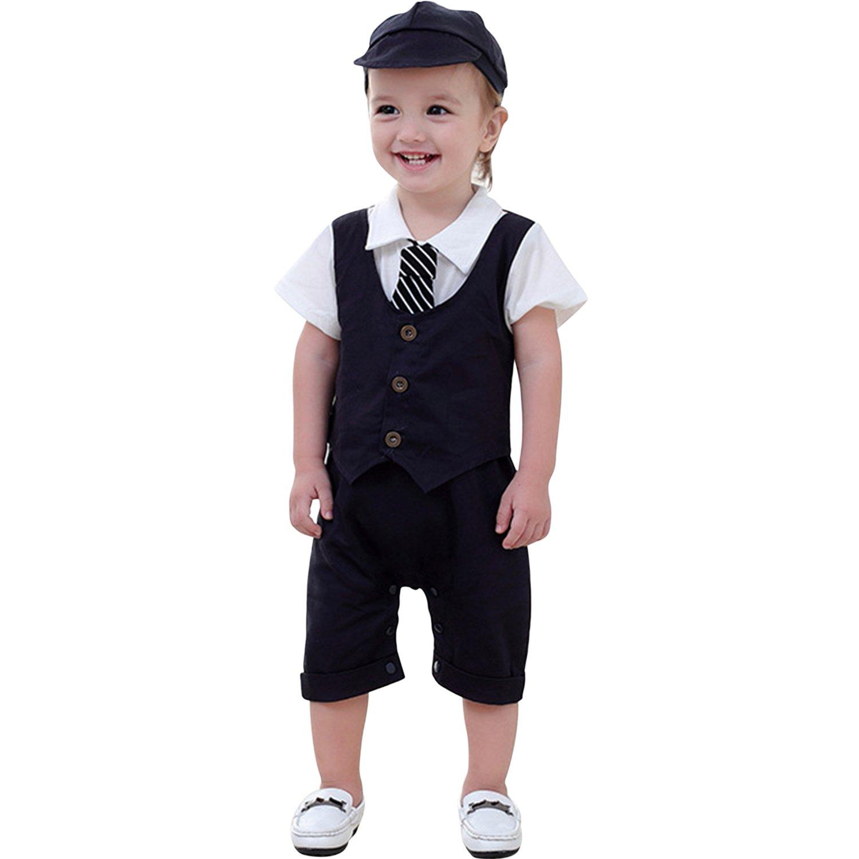 CHIC-CHIC Combinaison Bébé Garçon Barboteuse Manche Court avec Cravate Vêtement Gentilhomme Mariage Cérémonie Printemps Eté