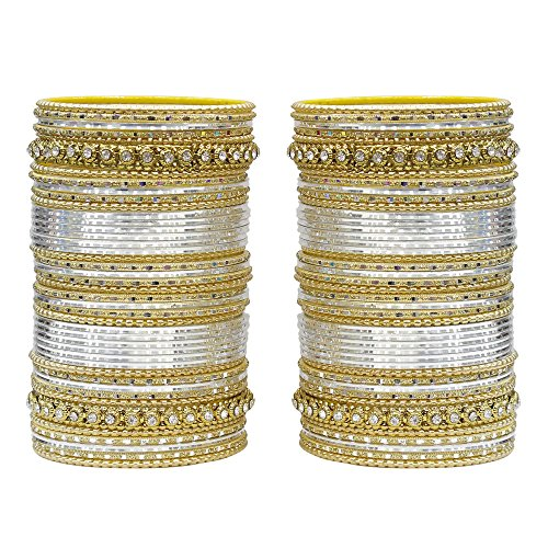 MUCH-MORE 86 Bangles Set of Multi Colour Amazing Collection of Bangles Set for Womens (Silver, 2.4)