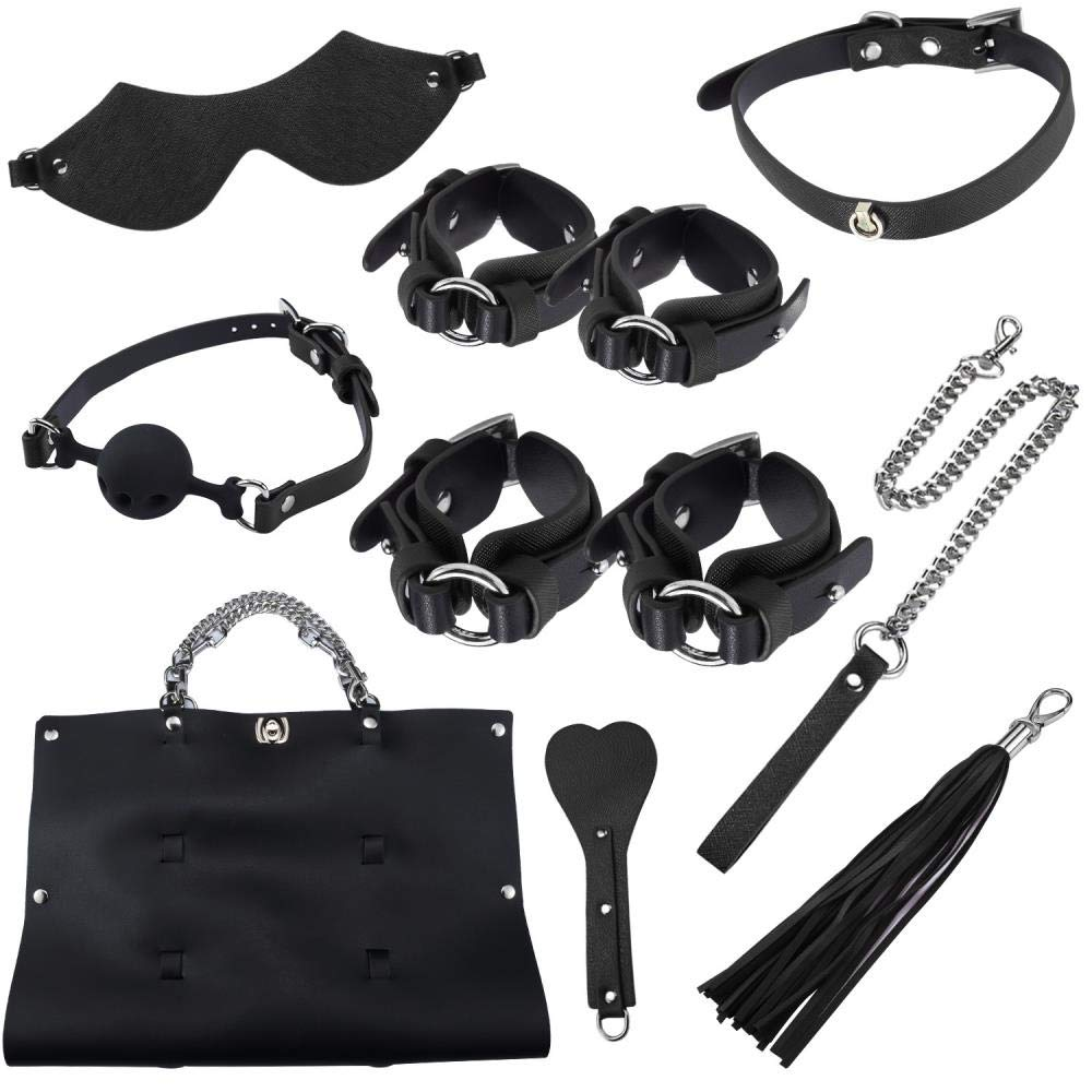 Rudolp 8 Pcs/Set Collar Blindfold Sex Products Erotic Toys for Adults Sex Bondage Set Handcuffs Gag Whip Sex Toys for Couples,Black