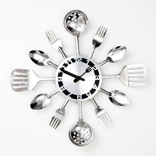 Amazon Com Bits And Pieces Contemporary Kitchen Utensil Clock Silver Toned Forks Spoons Spatulas Wall Clock Kitchen Decor Unique Fun Gift Home Kitchen