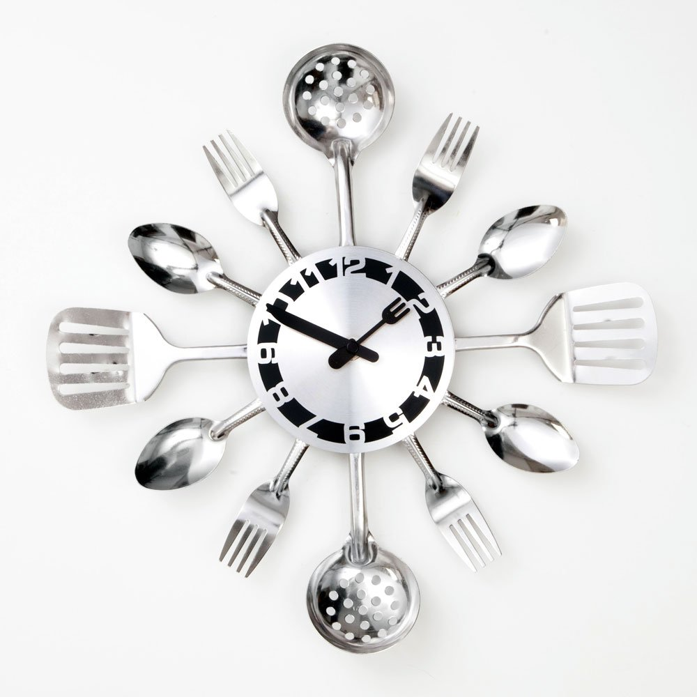 Amazon.com: Bits And Pieces Contemporary Kitchen Utensil Clock Silver Toned  Forks, Spoons, Spatulas Wall Clock   Kitchen Décor, Unique Fun Gift: Home U0026  ...