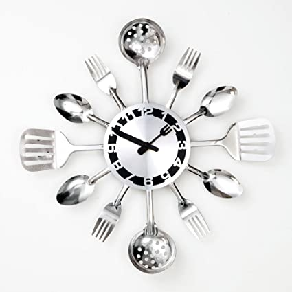 Bits And Pieces   Contemporary Kitchen Utensil Clock Silver Toned Forks,  Spoons,
