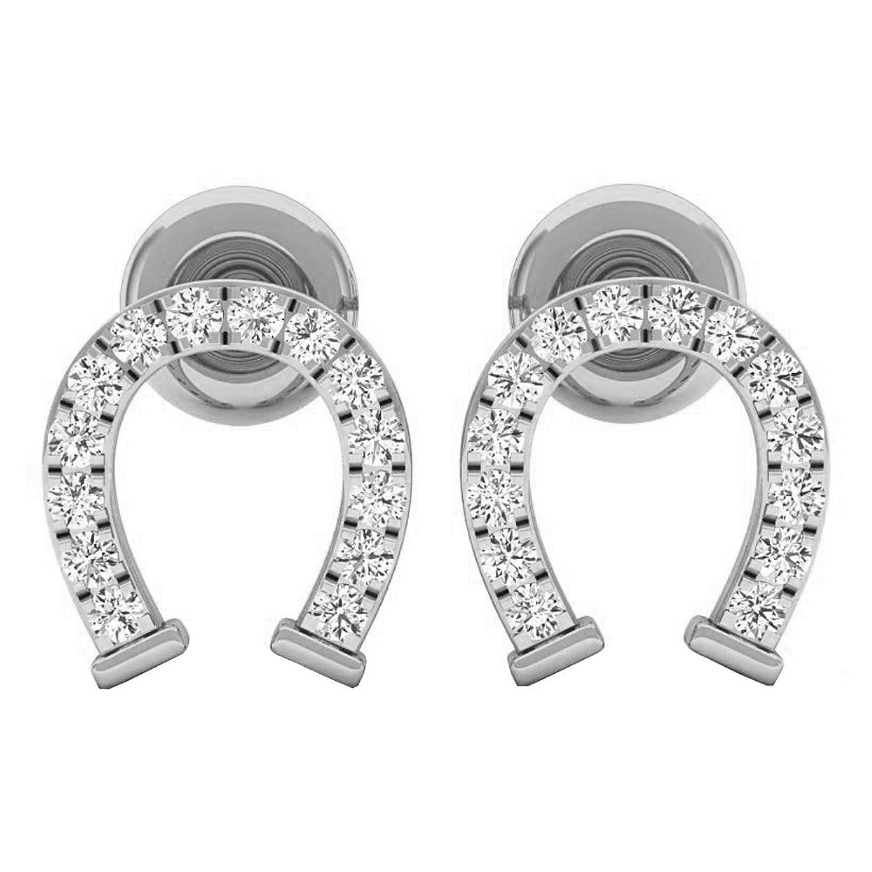 0.10 Carat (ctw) 18K Gold Round White Diamond Ladies Horseshoe Stud Earrings 1/10 CT