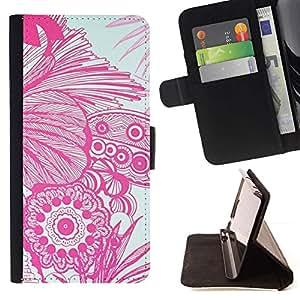 For Samsung Galaxy Note 4 IV Case , Arte Floral Flores Dibujo blanco Mano- la tarjeta de Crédito Slots PU Funda de cuero Monedero caso cubierta de piel
