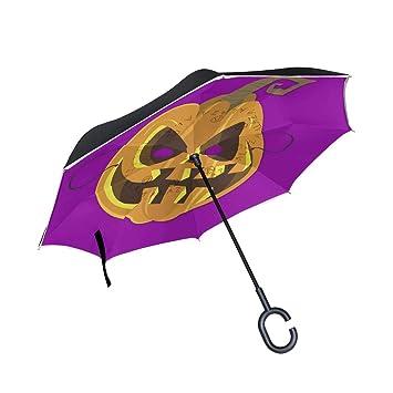 5aa9f09f34ee Amazon.com : Jojogood Halloween Pumpkin Mask Inverted Umbrella ...