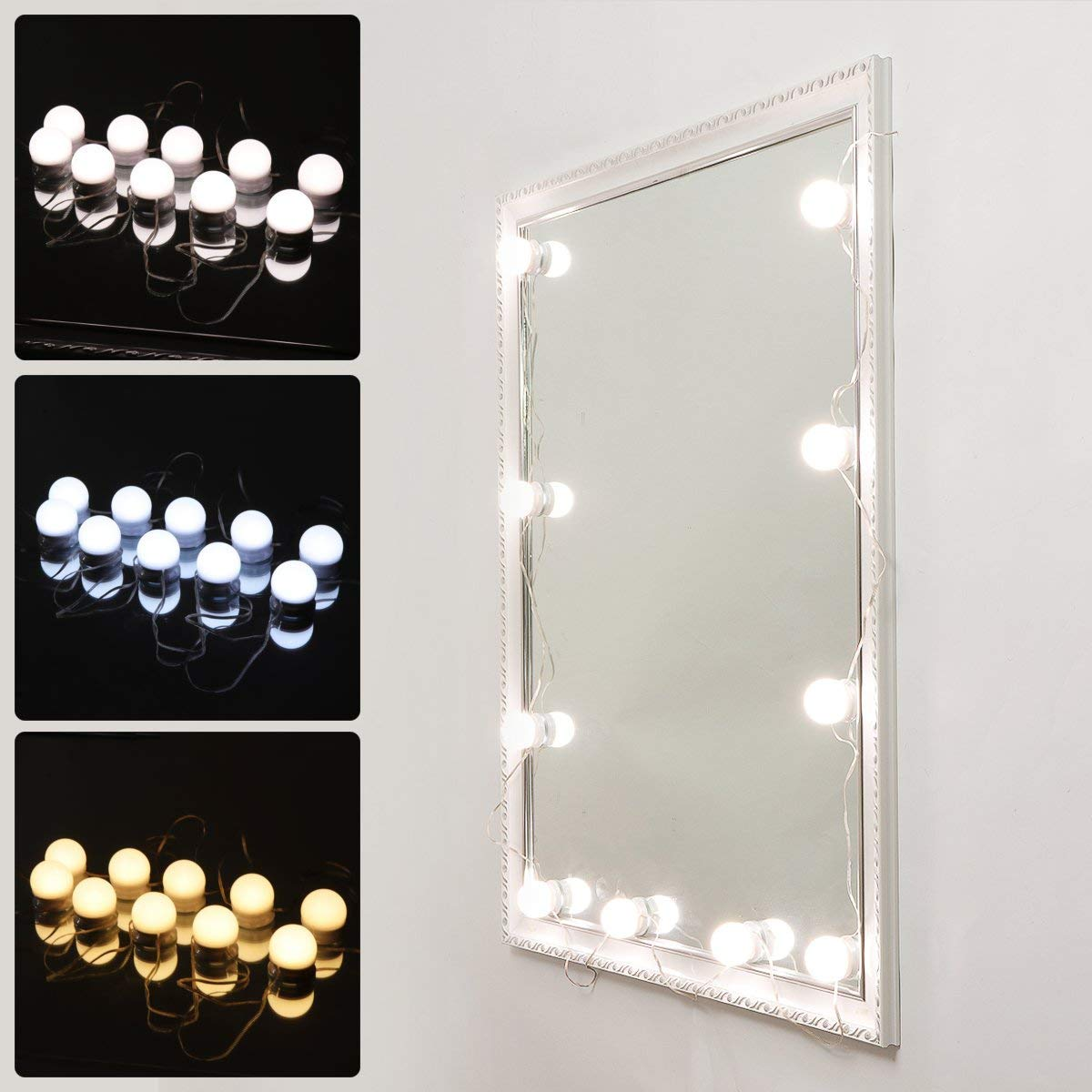 Vanity Mirror Makeup Lamp, KeepTpeeK 10 Bulbs Vanity 3 Color Lighting Modes Brightness Dimmable USB Charge LED Mirror Light for Bedroom Makeup Vanity Table