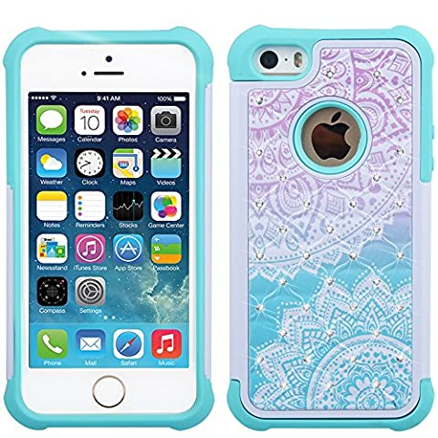 iPhone 5s Case, iPhone SE Case, UrSpeedtekLive [Shock Absorption] Dual Layer Hybrid Defender Protection Rhinestone Crystal Bling Cover Case for iPhone SE/5/5S - - Iphone 5 Phone Case