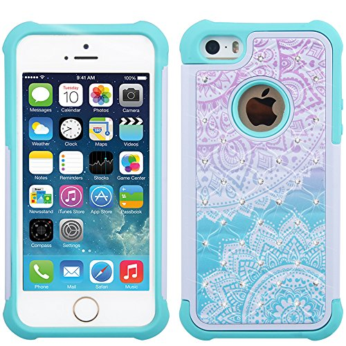 iPhone 5s Case, iPhone SE Case, UrSpeedtekLive [Shock Absorption] Dual Layer Hybrid Defender Protection Rhinestone Crystal Bling Cover Case for iPhone SE/5/5S - Mandala