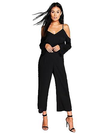 d4baced24e5332 Noir Femmes Ana Combinaison Jupe-culotte À Épaules Dénudées - 10 ...