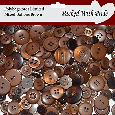BROWN MIXED BUTTONS PLASTIC BUTTONS ASSORTED BUTTONS PACK OF 1KG