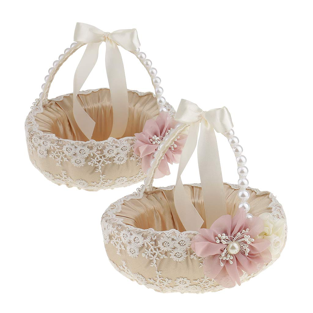 Prettyia Pack of 2 Vintage Beige Satin Lace Floral Pearls Handle Flower Girl Basket Wedding Ceremony Party Supplier