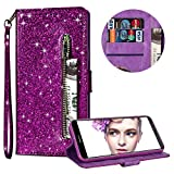 Luxury Glitter Bling Zipper Wallet Phone Case for Huawei Mate 10 Lite, MOIKY Bookstyle PU Leather Flip Folio Magnetic Purse Pockets Credit Card Holder Wrist Strap Case Cover for Huawei Mate 10 Lite - Purple