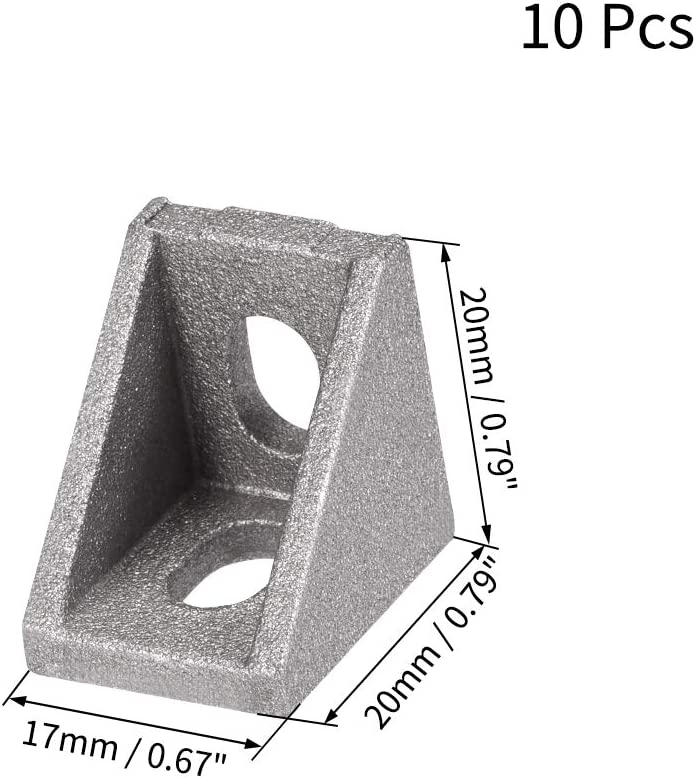 Black uxcell Inside Corner Bracket Gusset 28mm x 28mm for 2020 Series Aluminum Extrusion Profile with Slot 6mm 10 Pcs