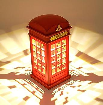 Nachttischlampe,Vintage London Telefonzelle Entworfen Motiv Lampen Dimmbare  LED Lampe Touch Sensor Für Schlafzimmer