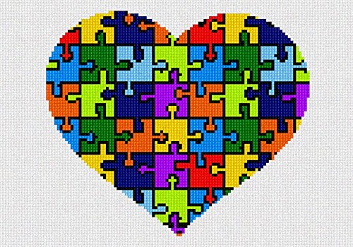 Heart Needlepoint Canvas (Heart Puzzle Needlepoint Kit)