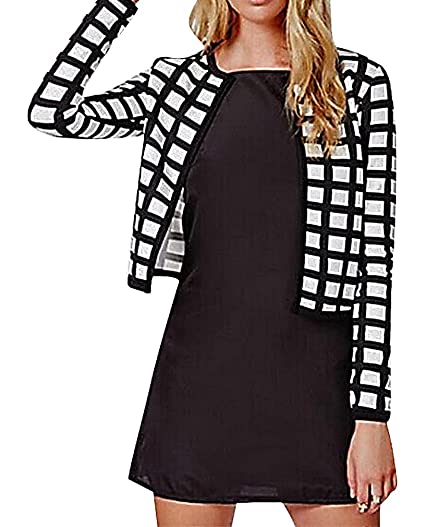 Maze Womens Long Sleeve Black White Checkered Print Open Front