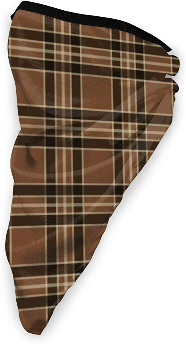 Wind-Resistant Face Mask/& Neck Gaiter,Balaclava Ski Masks,Breathable Tactical Hood,Windproof Face Warmer for Running,Motorcycling,Hiking-Rustic Brown Vintage Plaid