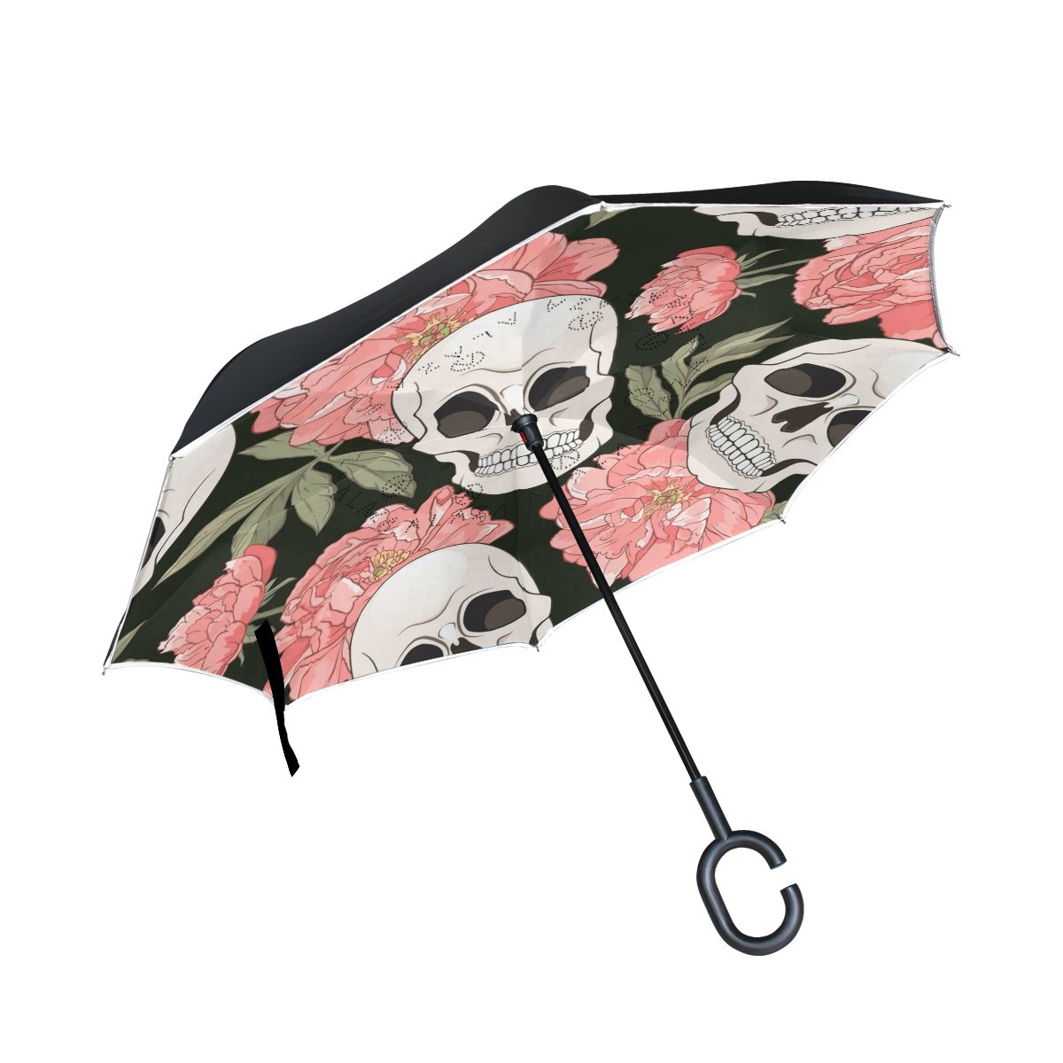 50%OFF La Random Gothic Seamless Pattern With Floral Skulls Inverted Umbrella Double Layer Windproof UV Protection Compact Car Reverse Umbrella