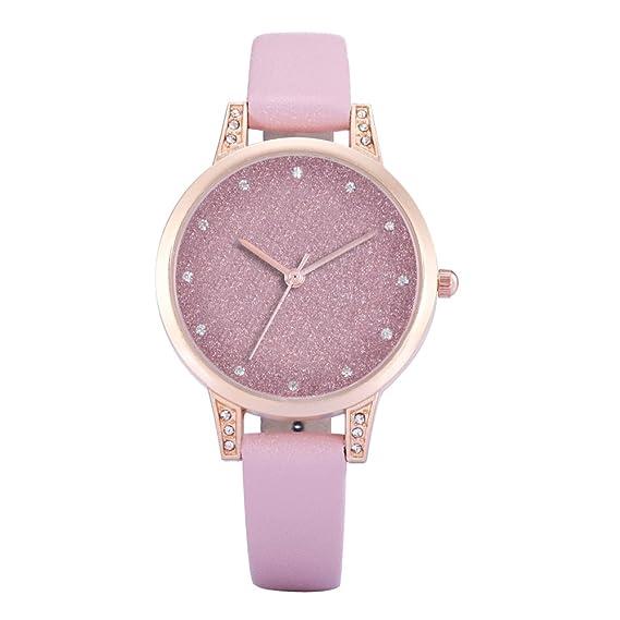 reloj bonito color rosa de las mujeres con cuero de color rosa de la correa de reloj del reloj rosy lively modernos damas de moda únicas: Amazon.es: Relojes