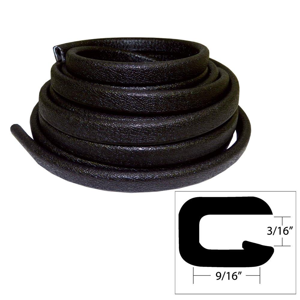 1 - TACO Flexible Vinyl Trim - 3/16'' Opening x 9/16''W x 25'L - Black