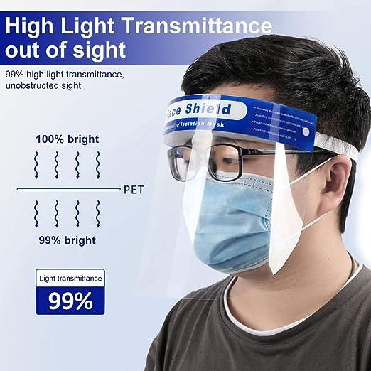 50 Unidades Protectores faciales plástico antisaliva con película ...