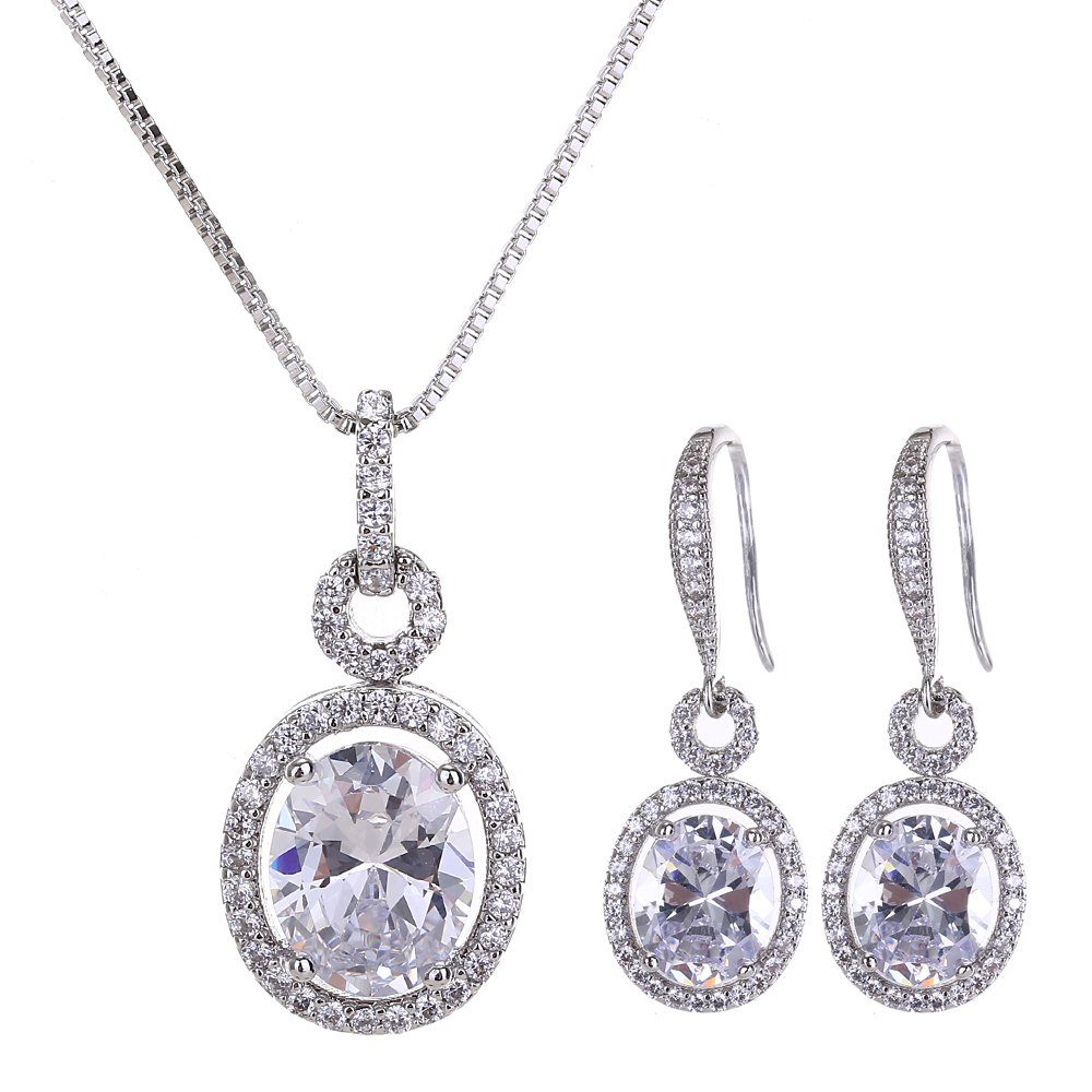 AMYJANE Bridal Jewelry Set for Women - Sterling Silver Cubic Zirconia Crystal Oval Halo Necklace and Dangle Earrings Set Fashion Jewelry Set by