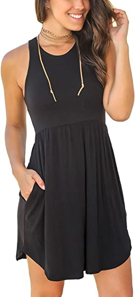 Women's Sleeveless Loose Plain Dresses Casual Short Dress with Pockets