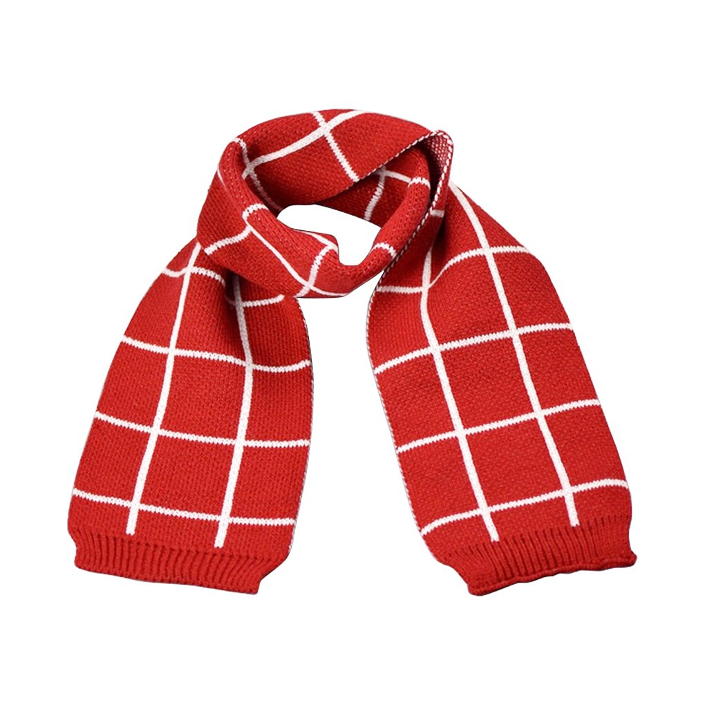 Children Winter Scarf Thick Plaid Scarves for Boys and Girls Knitted Warm Neckerchief Kids Soft Windproof Shawl British Style Cozy Wrap Scarf Outdoor Neck Collar Cover
