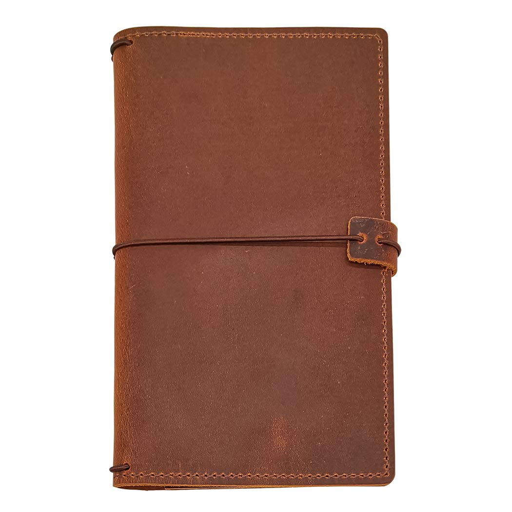 Travelers Notebook Cover with 4 Elastics, Inner Pocket + Card & Pen Holder, Distressed Brown Genuine Leather, Standard Size by POROMO