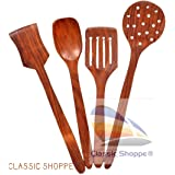Classic Shoppe Wood Sheesham Cooking Spoons for Non-Stick Utensils (Multicolour, Standard Size) -Set of 4