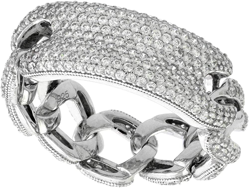 Rose Silver Curb Chain Ring Cubic Zirconia 925 Solid Silver 14K Gold Plated