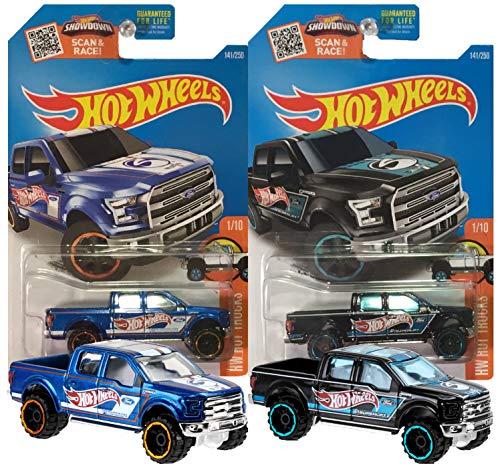 2016 141/250 HW Hot Trucks 1/10, '15 Ford F-150, Supercab, Superlift, 2 Pack Bundle with Blue & Black