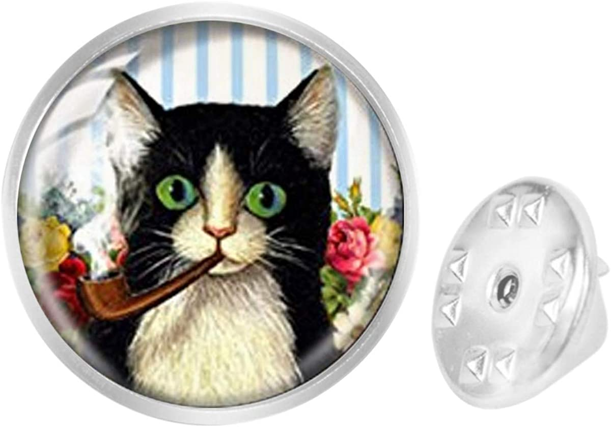 Custom Lapel Pin Brooches Retro Style Pipe Smoking Cat Banquet Badge Pins Trendy Accessory Jacket T-Shirt Bag Hat Shoe