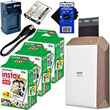 Fujifilm instax SHARE Smartphone Printer SP-2, Gold (International Version) + Instax Mini Instant Film (60 sheets) + Rechargeable Battery + AC/DC Charger + HeroFiber Cleaning Cloth