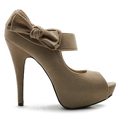 a611207e791 Ollio Women's Shoe Platform Open Toe High Heel Ribbon Accent Multi Color  Pump