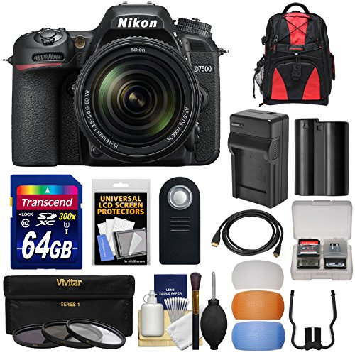 Nikon D7500 Wi-Fi 4K Digital SLR Camera & 18-140mm VR DX Lens with 64GB Card + Battery & Charger + Backpack + Filter + Kit