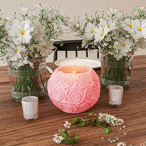 Home Lavish LED Candle with Remote Control-Rose Ball Design Scented Wax Realistic Flickering or Steady Flameless Sphere Light-Ambient Décor]()