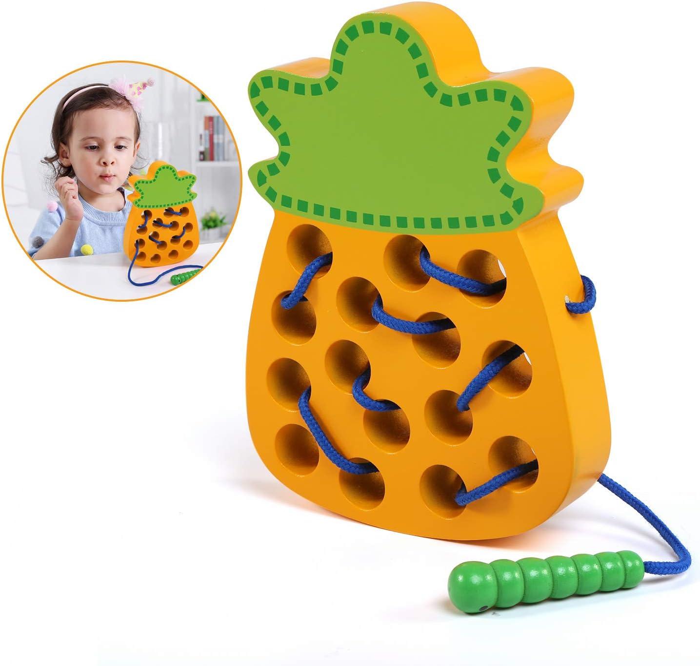 LinStyle Juguetes Montessori, Piña de Madera Juguete de Rosca, Juguetes de Madera para Niños de 3 años, Bloque de Madera Puzzle Desarrollo de Habilidades Motoras Juego Regalo Educativo Montessori