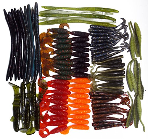 CATCHSIF 100pcs Soft BAITS Worms and Stick Drop Shot baits and shad Tails kit