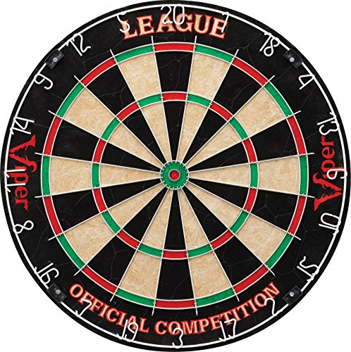 Steel Bullseye - Viper League Sisal/Bristle Steel Tip Dartboard with Staple-Free Bullseye