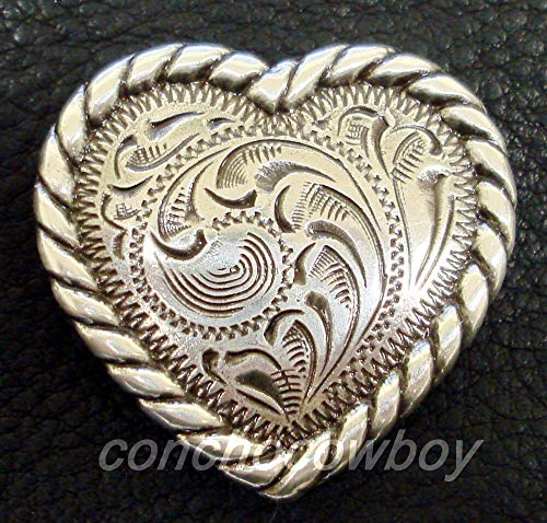 JumpingLight Western Horse Saddle TACK Antique Rope Edge Heart Conchos 1 inch Screw Back Perfect for Crafts, Scrap-Booking, Jewelry, Projects, Quilts